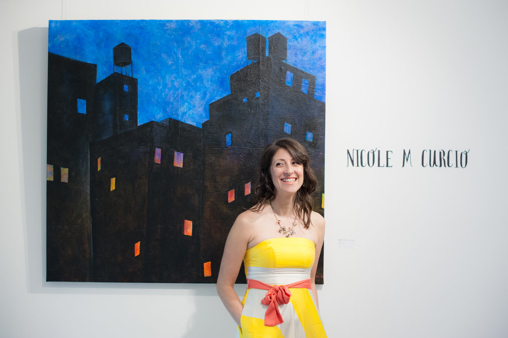 "Looking giddy at the opening reception for my solo show ""Urban Planning"""