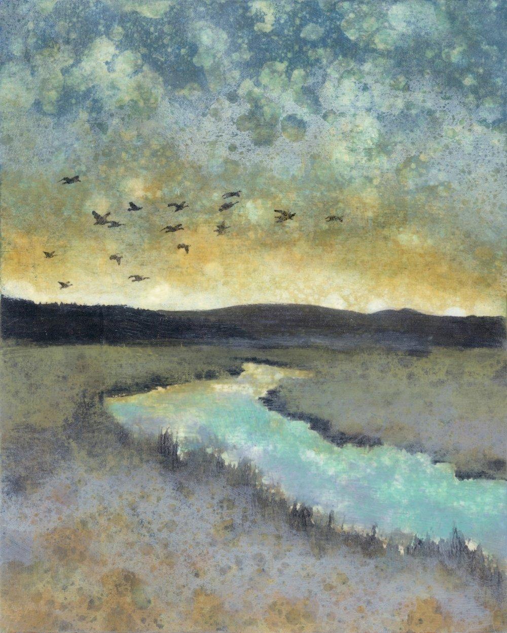 River Crossing, Rain Painting, JEni Lee, Columbia River (1024x1280).jpg