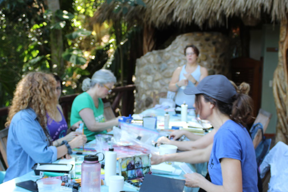 The gang gets crafty with paint, sketchbooks, and collage.