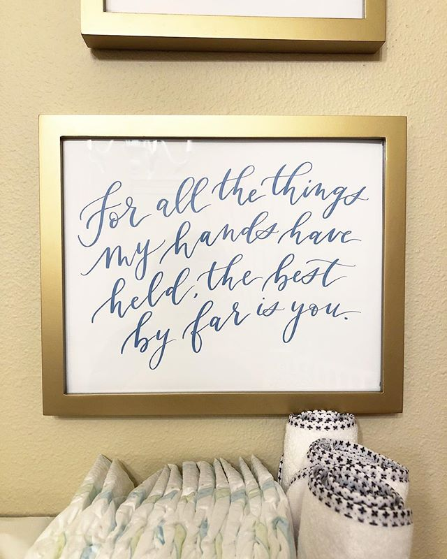 A quote I wrote for Hazel's nursery that feels so very true. I'm slowly easing back into calligraphy work for my brother's upcoming wedding, and having her hang out in my office with me is just the best thing. 💕 #inklingcalligraphy #idahocalligrapher #boisecalligraphy #nurseryquote