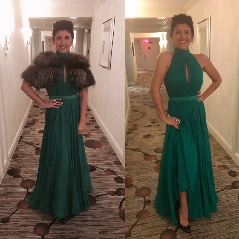 Cindy Frey in Alexander McQueen gown, Gucci shoes, and Lilly e Violetta fur, for the Kennedy Center Honors