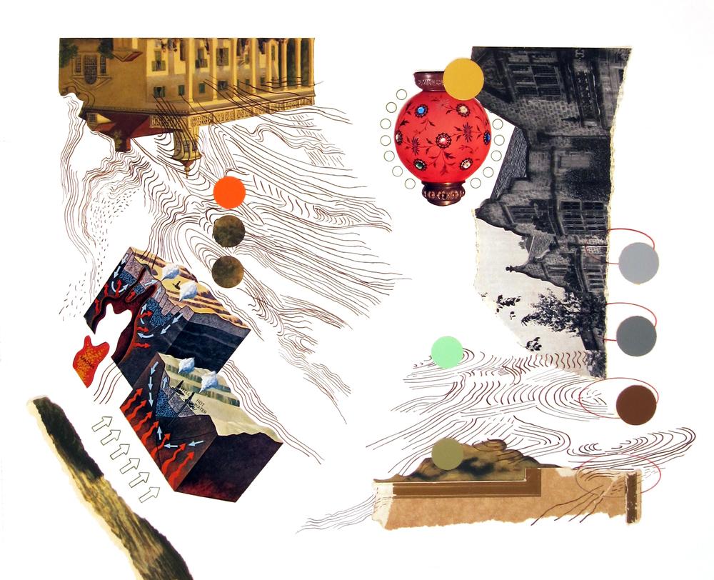 """Current   paper fragments, ink, prismacolor 14"""" x 16 1/2"""""""