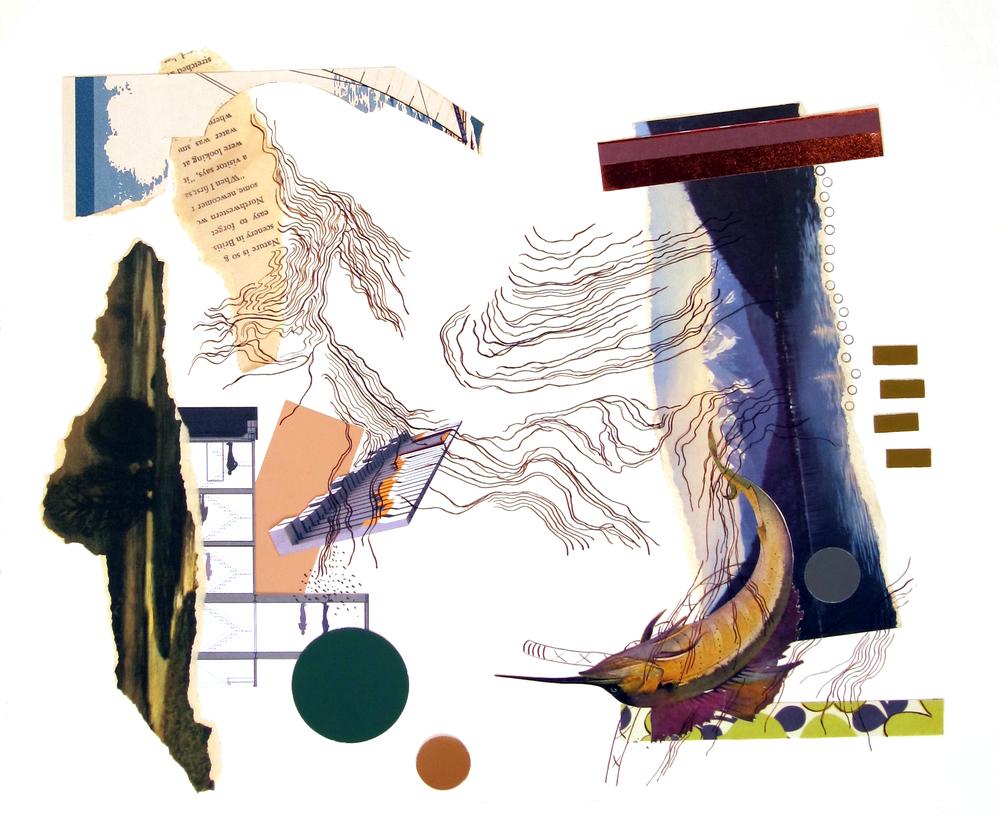 """Backdraft   Paper fragments, ink, prismacolor 14"""" x 17"""""""