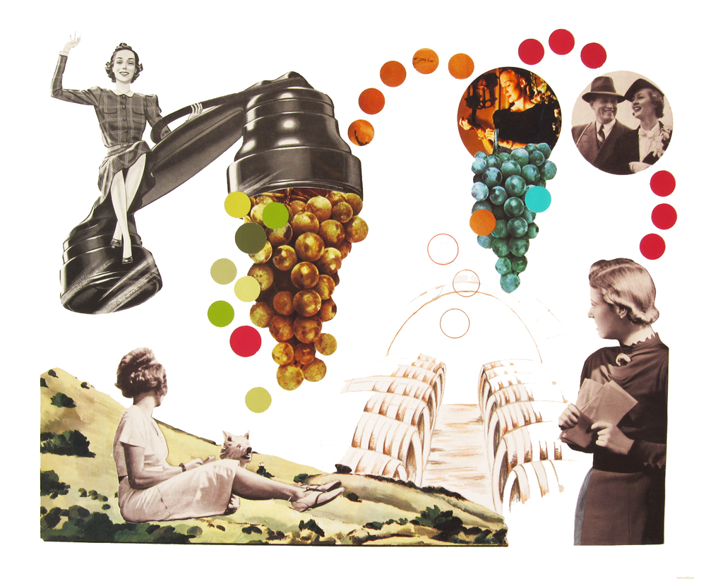 "Wine Country Collage #4   2016 Prismacolor, paper fragments 14"" x 17"""
