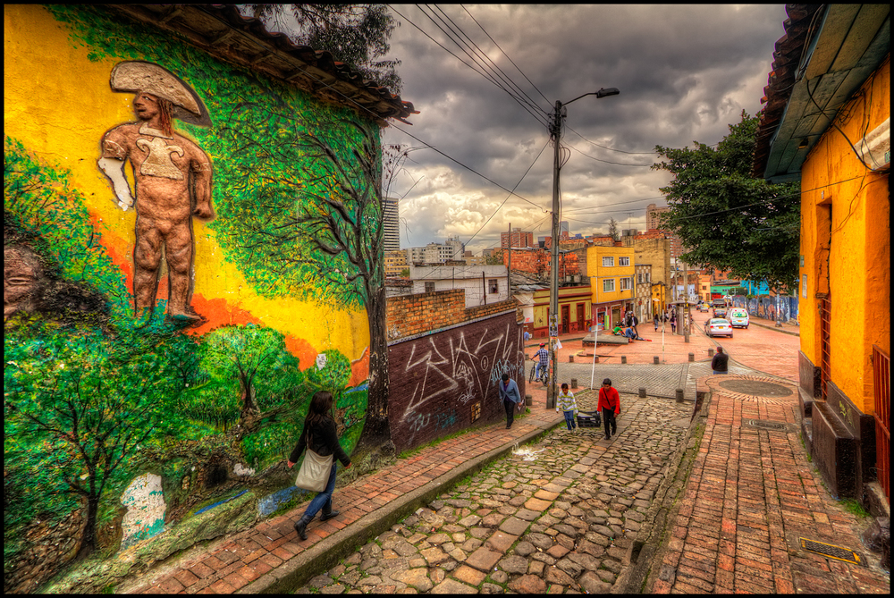 Street art in La Candelaria, Bogota, Colombia. By Pedro Szekely. Available here.