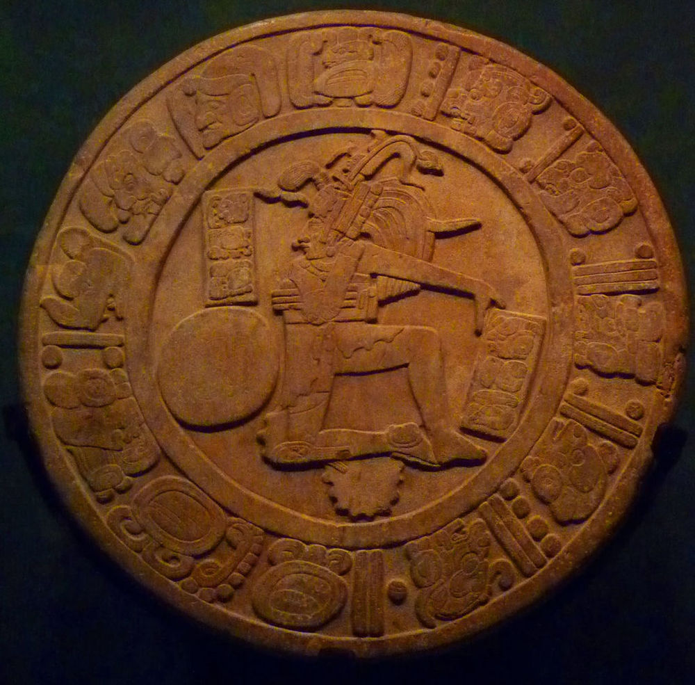 The Mayan  Disco de Chinkultic . It contains a representation of Hun Hunahpu, somebody who is important in our Mayan creation myth. Source: Maunus, available  here .