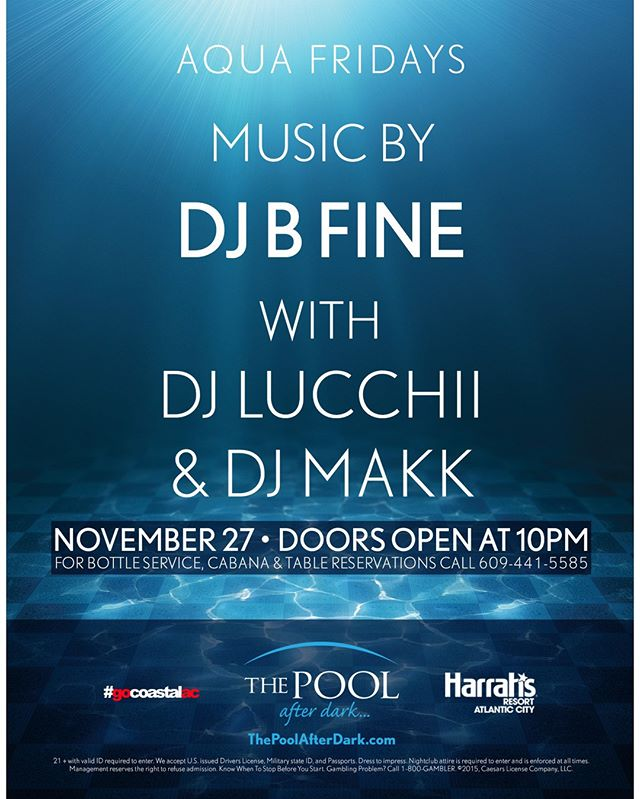 Tonight we have DJ B-Fine, DJ Lucchii and DJ Makk at the The Pool After Dark at Harrah's Resort Atlantic City!  Show this post at the guest list table between 10 pm and midnight for FREE admission!  Call 844-POOL-VIP to reserve your bottle service package!  #harrahsac #poolafterdark #doac #murmur #goldennugget #borgataac #borgata #harrahspool #harrahspoolac #vip #dance #edm #dj #jersey #nj #ny #philly #newjersey #guestlist #ac #drinks #shots #gocoastal #gocoastalac #bottleservice #nightlife #club #beatclan @beatclan