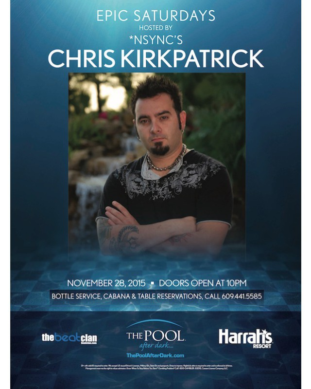 Tonight we have @chris_kirkpatrick at the @PoolAfterDark at Harrah's Resort Atlantic City!  Show this post at the guest list table between 10 pm and midnight for REDUCED admission!  Call 844-POOL-VIP to reserve your bottle service package!  #harrahsac #poolafterdark #doac #murmur #goldennugget #borgataac #borgata #harrahspool #harrahspoolac #vip #dance #edm #dj #jersey #nj #ny #philly #newjersey #guestlist #ac #drinks #shots #gocoastal #gocoastalac #bottleservice #nightlife #club #beatclan @beatclan