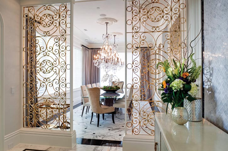 Antiqued filigree panels create separation and a sense of intrigue.