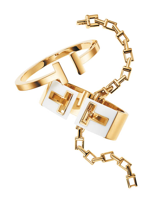 """It's all about layering,"" Amfitheatrof said about wearing her latest line of jewelry, Tiffany T."