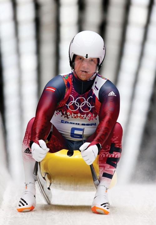 Luge athlete Martins Rubenis of Latvia at the Winter Olympics, February, 2014