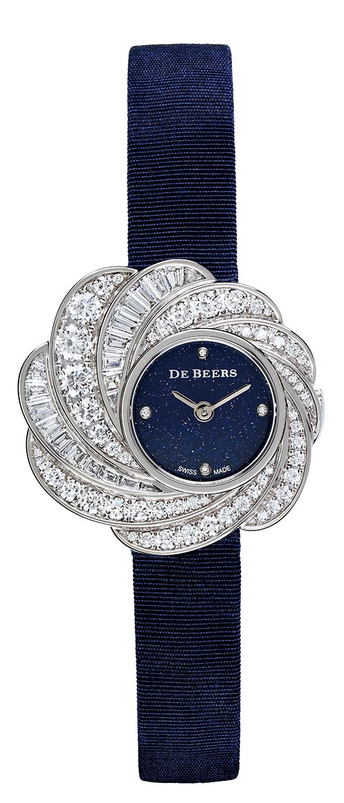 De Beers Aria 29mm Full Pavé Watch With Aventurine Dial,Price Upon Request
