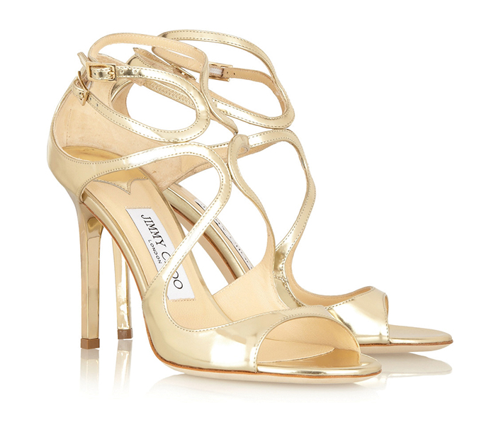 Jimmy Choo Gold Mirror Leather SandalsUS$850