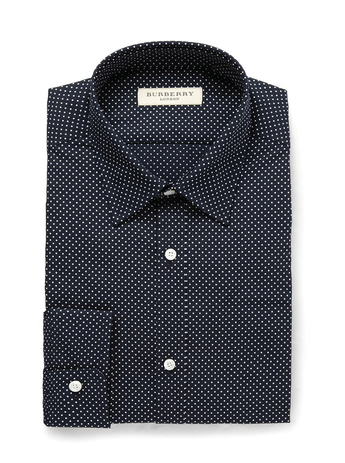 Burberry Slim Fit Polka Dot Cotton Shirt $325