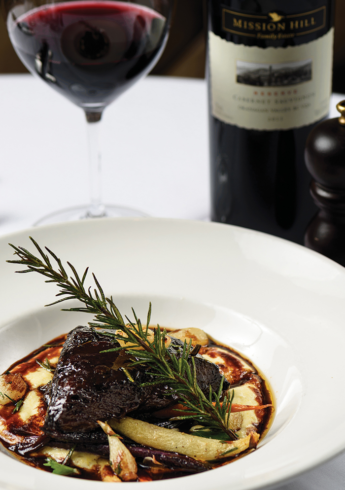 Chef Gauthier's creation —Braised Wagyu Beef Cheeks — inviting, flavourful, a hearty dish to tempt your taste buds during this yuletide season. Wine: A divine match, marrying buttery textured beef and polenta with the blackberry, plum and oak notes of the red.