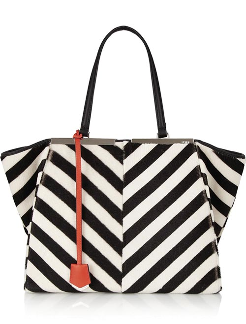 Fendi Striped Shearling and Calf Hair Tote US$4,250* net-a-porter.com