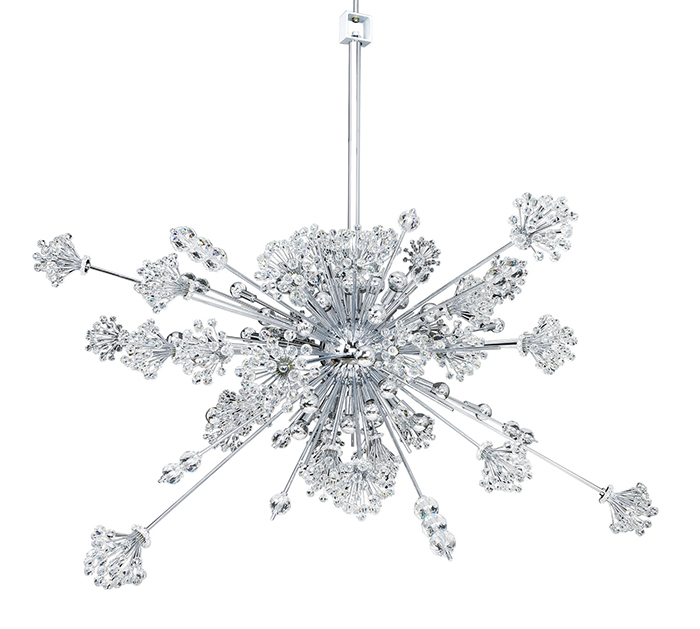 Allegri Crystal Constellation 30 Light Pendant, $4371.50 A pendant chandelier reminiscent of a starburst of snowflakes comes with shimmering Firenze crystal clusters of lights, creating a Christmassy spirit.