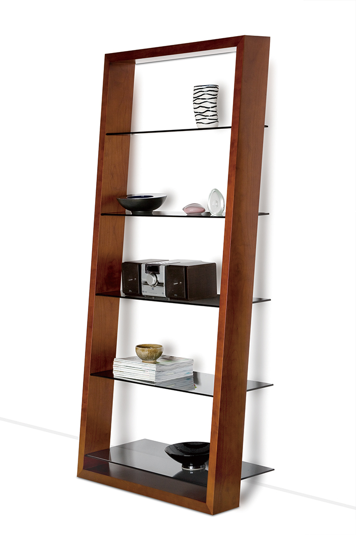Inspiration Furniture, Eileen Leaning Shelf, $1295  This leaning shelf comes in walnut with tempered grey tinted glass niches. Remove all shelves except one for a sculptural statement.