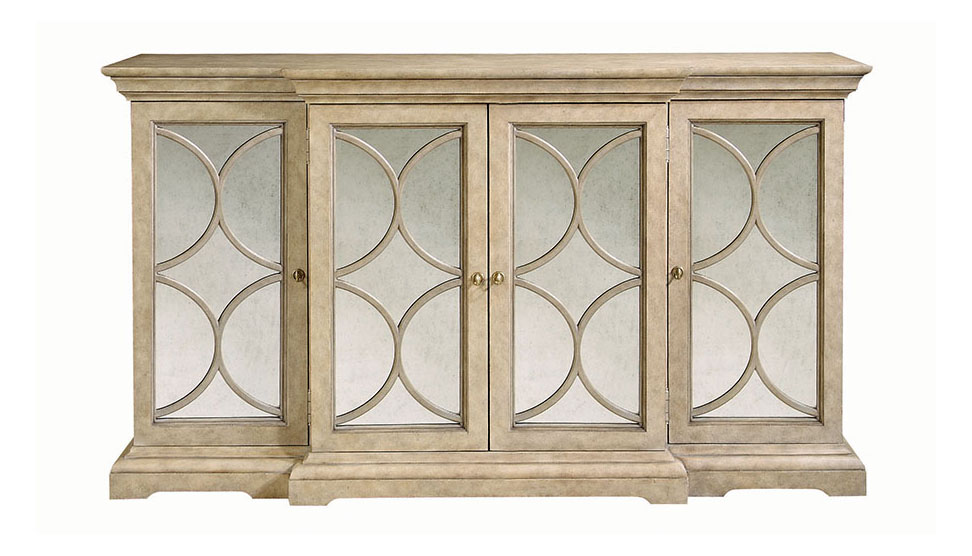 Bernhardt Furniture Ellery Server, $3295  The limestone finish of this sideboard with wine storage lends any room warm luster. Its semi-circle patterns add a breath of glamor and echo curves elsewhere in the room.