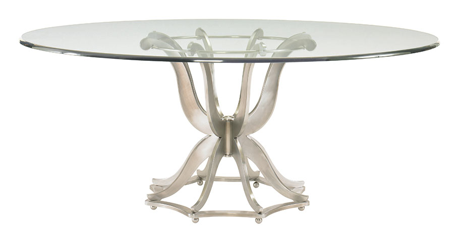 Century Furniture Omni Dining Table, $4795  Transparent glass table top with curved metal base is solid and regal, yet ethereal — the perfect find for a feminine ambiance.