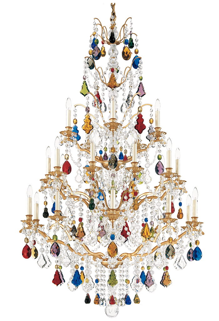 Schonbek Bordeaux 5782 Chandelier, $8262.71  Sparkling with festive joy, this radiant crystal chandelier with translucent beads and branching structure resembles a dazzling tree hanging from the ceiling.