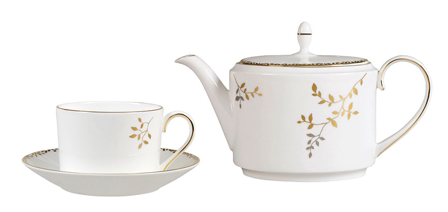 Wedgwood Vera Wang Gilded Leaf Teapot, $300. Tea Cup, $36. Saucer, $21  This fine bone china tea set evokes springtime melodies and an Oriental vibe with its luxuriant design — bringing nature's beauty into your living space.