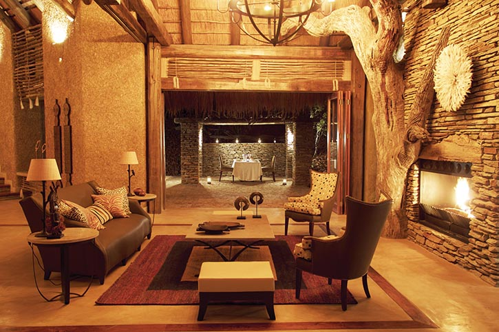 African artifacts adorn the fireside lounges of Kapama River Lodge.