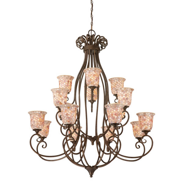 Quoizel Monterey Mosaic Chandelier , $2,697 Chandelier with lovely mosaic patterns on shell and glass shades. Playful curls on metal frame add whimsical feel. Perfect for ski chalet or modern loft. At The Lighting Warehouse, 604 270 3339  thelightingwarehouse.com