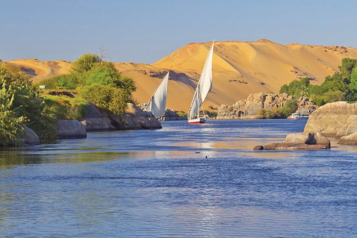 Cruise up the majestic Nile to visit more of Egypt's ancient temples, tombs of queens and sarcophagi of pharaohs.