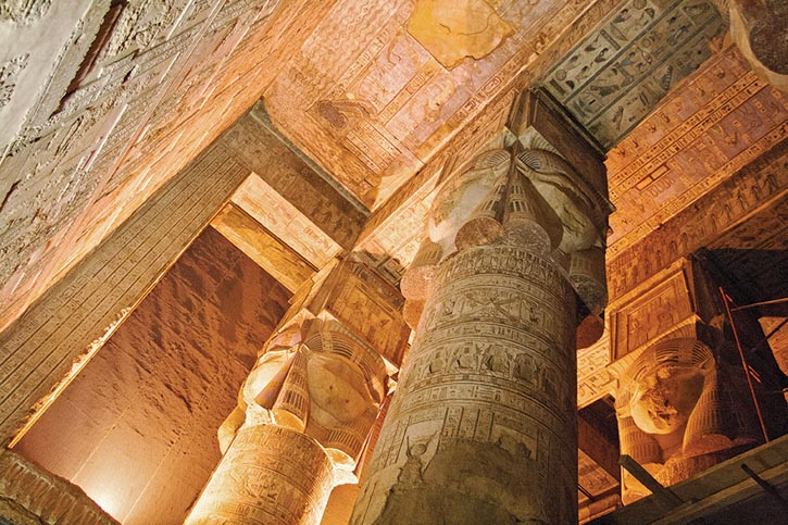 Inside the Temple of Hathor, an ancient Egyptian goddess who personifies femininity, motherhood, music, dance and more.    Photo by Janice and George Mucalov