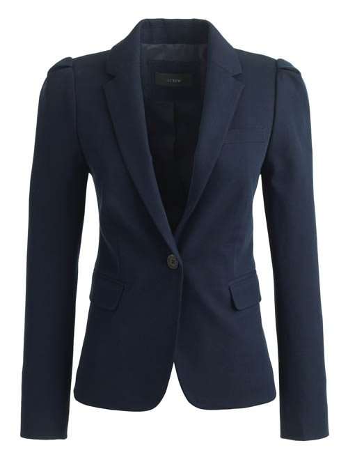 Navy cotton puff-sleeve blazer from J. Crew