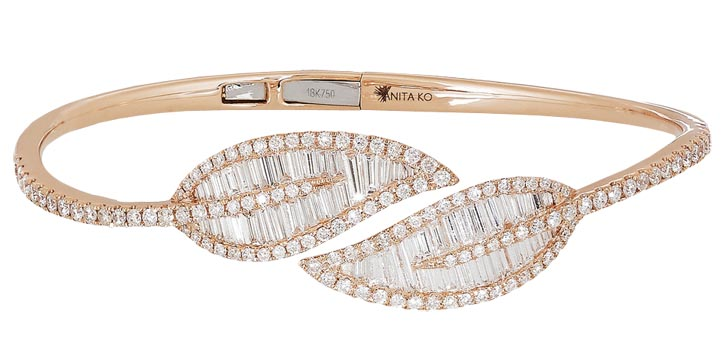 Anita Ko Leaf 18-karat gold and diamond bracelet