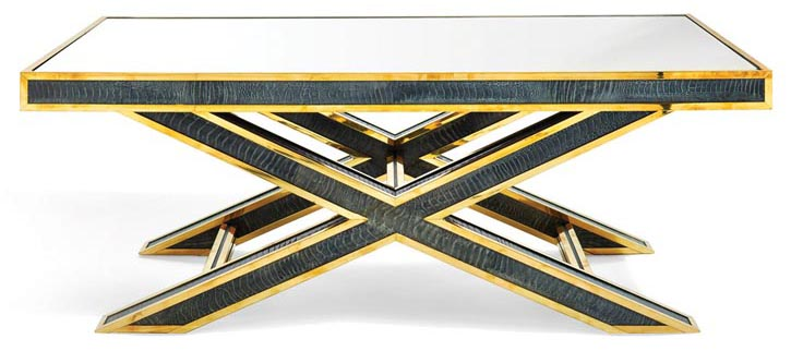 Her favourite pieces of furniture are the ones that spring from her own imagination, like this striking X base cocktail table from her ah ha! collection.