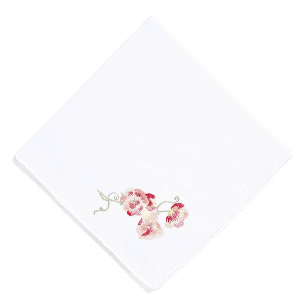 Among Anne Hepfer's must-haves is D. Porthault's Pois de Senteur cotton voile handkerchief.