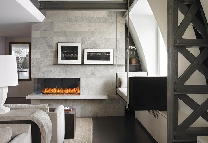 Custom-built corner fireplace by Montigo, montigo.com