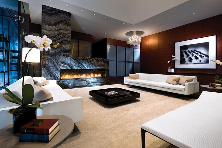 Custom-built, eight-foot-long fireplace by Montigo, montigo.com .