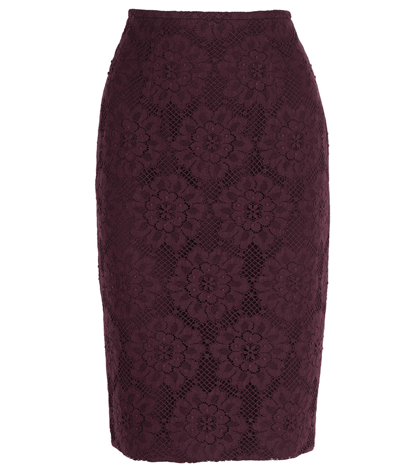 Burberry English Floral Lace Pencil Skirt $925