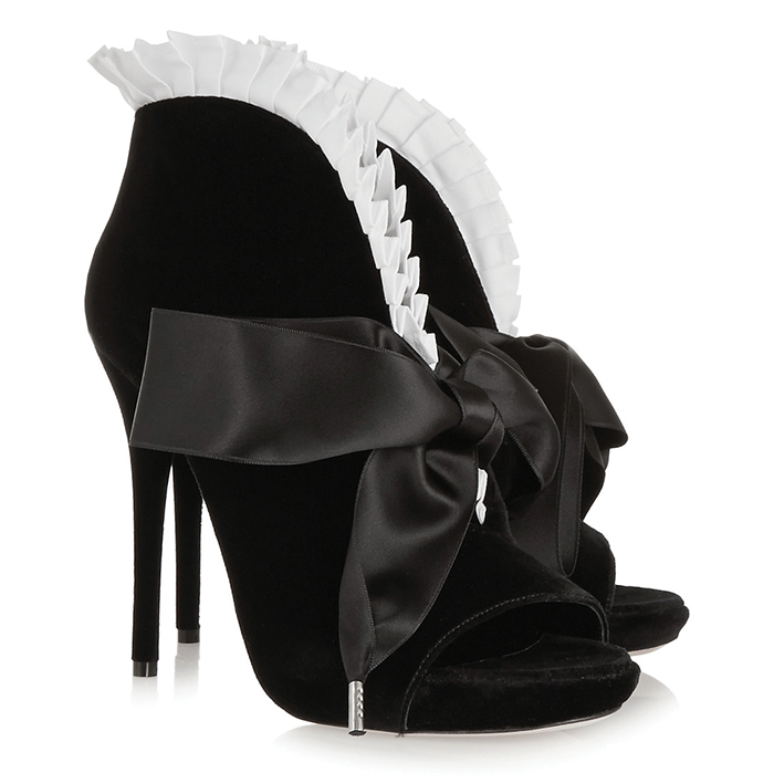 Alexander Mc Queen Popeline Pleated Peep-toe Bootie $1,081
