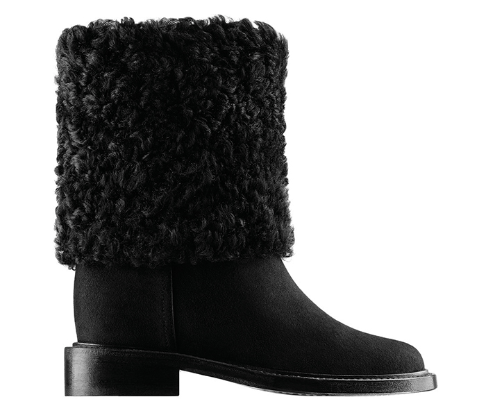 Chanel Black Suede and Shearling Shirt Boots Price Upon Request