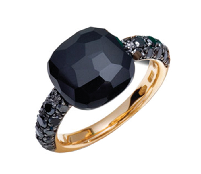 Pomellato Capri Ring in Rose Gold with Onyx and Black Diamond Rose Gold black onyx diamond ring Price Upon Request