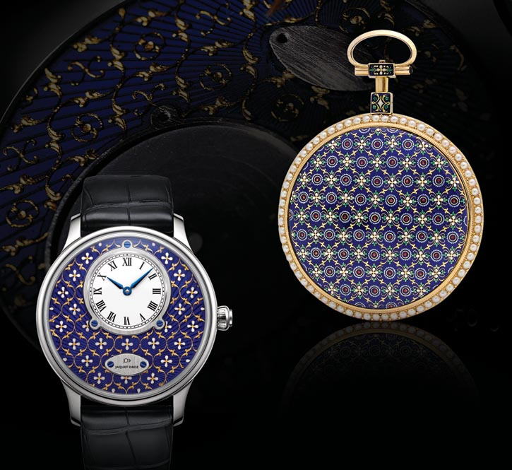 Jaquet Droz Petite Heure Minute Paillonné watch featuring Grand Feu paillonné enamelling, a decorative embedding technique that originated in the 18th century. Limited edition of 8. Above it, an antique pocket watch produced in 1790 with the same technique.  jaquet-droz.com, At Lugaro, 604 925 2043 / 604 430 2040