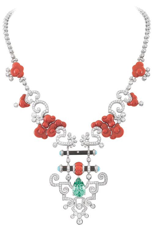 "Van Cleef & Arpels Palais de la chance Collection ""Bois Céleste"" Necklace Shaped like a traditional Chinese longevity lock, this 9.51-carat pear-shaped aqua garnet is surrounded by colourful coral and diamond auspicious clouds, symbolizing peace and longevity. At Birks, www.vancleefarpels.com"