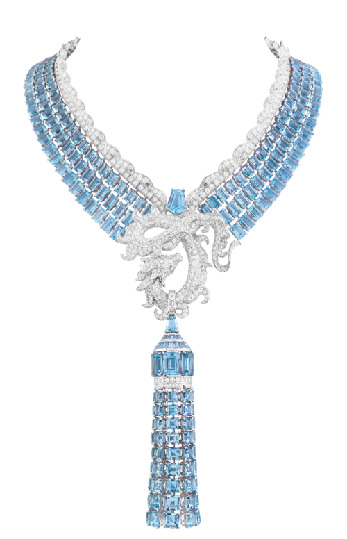 "Van Cleef & Arpels Voyages Extraordinaires Collection ""Krafla"" Necklace In billowing seas composed of aquamarines and diamonds, an ardent silver dragon snakes through, to send mortals favourable weather and bliss in the coming year. At Birks, www.vancleefarpels.com"