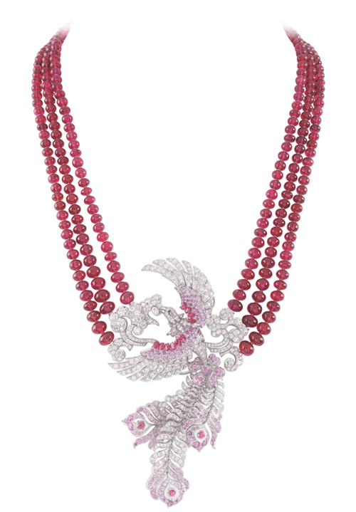 "Van Cleef & Arpels Birds of Paradise Collection ""Oiseaux Flamboyant"" Necklace Red spinels, pink sapphires and diamonds enhance one another's radiance and beauty. A phoenix soaring high above the clouds casts brilliant fireworks in the sky. At Birks, www.vancleefarpels.com"