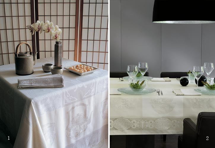 Classical Chinese patterns in off-white take an elegant space with ancient mood one step further. Use it with back-to-nature decor, with Buddhist Chinese or Japanese decor or in a minimalist European dining room. Dull space will glow.