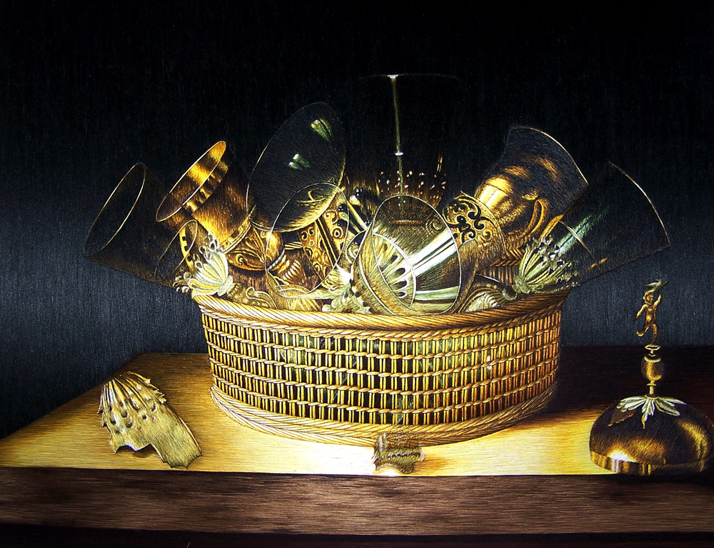 Sebastian Stoskopff -  Still-Life of Glasses in a Basket  - c.1644, Su Embroidery Studio,  Size:40 x 30 cm or 16 x 12 inches
