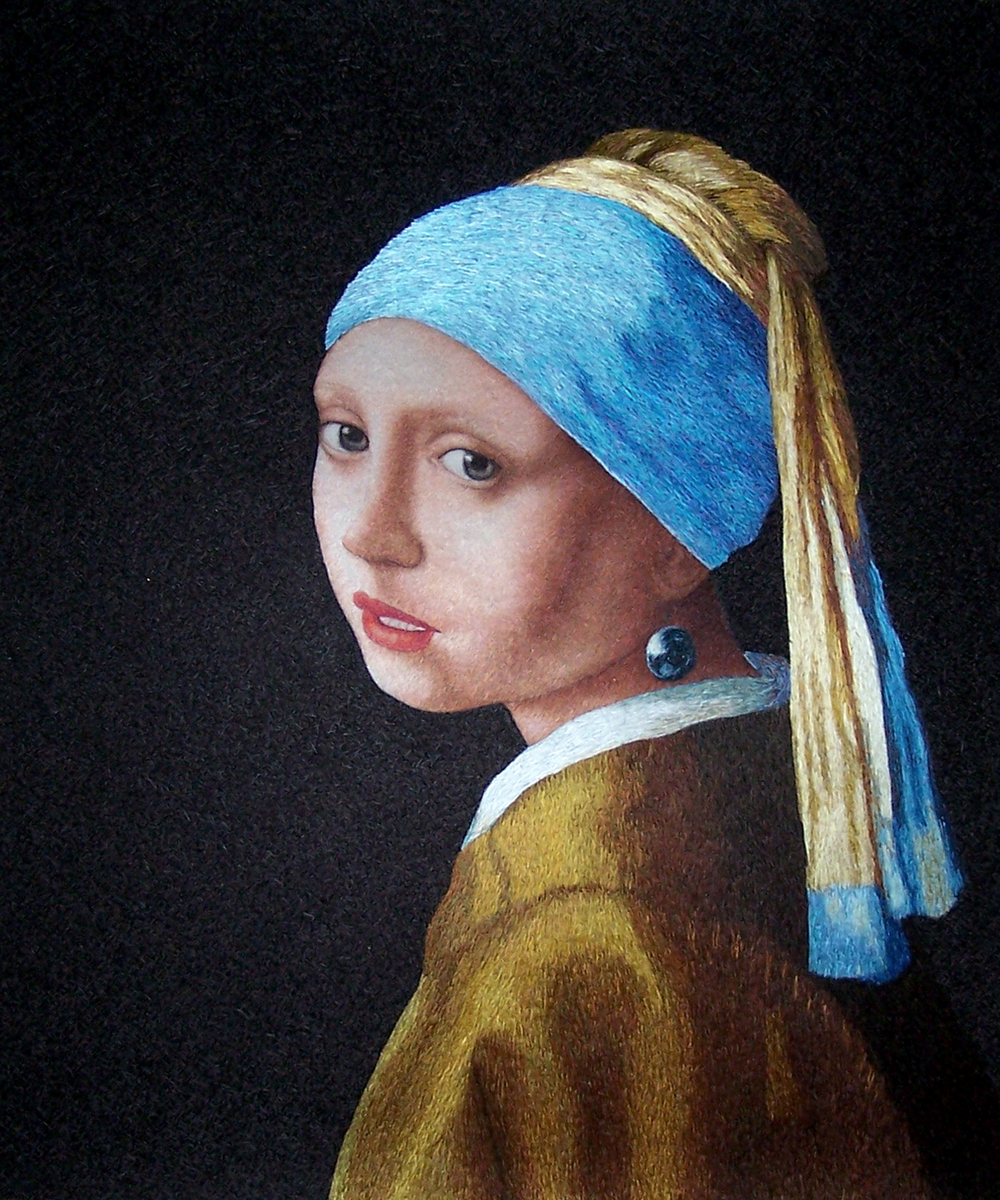 The young girl and the pearl  Embroidery Size:50 x 60 cm or 20 x 24 inches,  Su Embroidery Studio