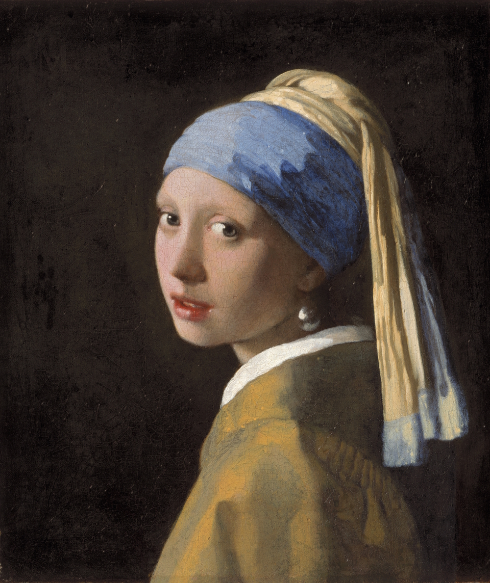Original Painting by  Johannes Vermeer, Girl with a Pearl Earring, c. 1665,  The Mauritshuis Museum