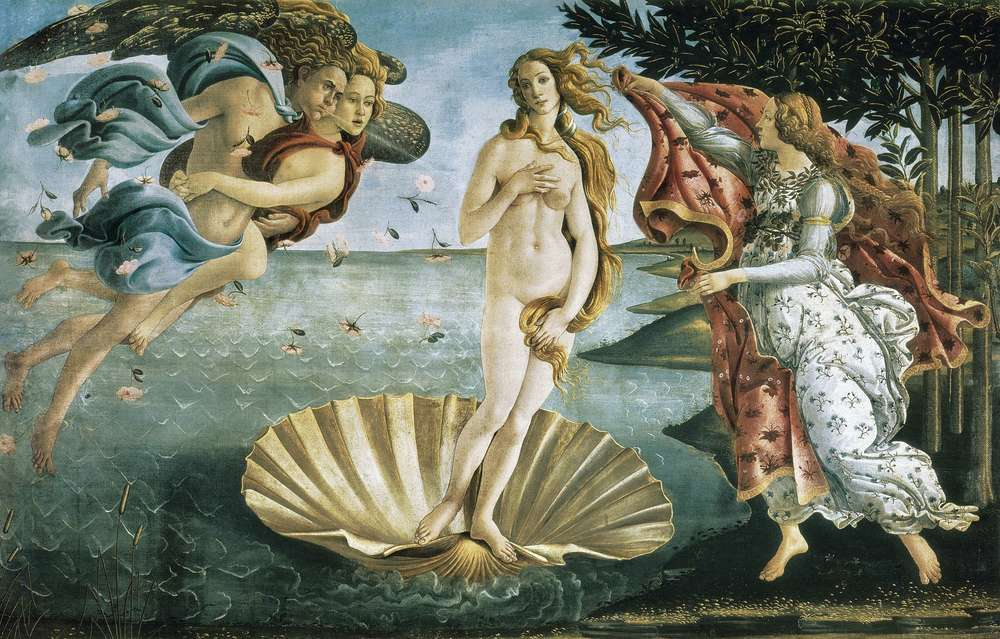 Original painting by Botticelli, The Birth of Venus, c. 1484,  Uffizi Gallery Museum