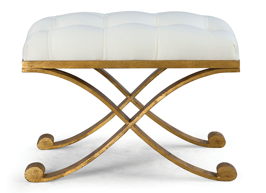 Christopher Guy CrissCross Tufted Ottoman , Price Upon Request A warm gold finish enhances the delicately carved wood — crowned by a beautiful cartouche — and cabriole legs of this snowy tufted ottoman.  At Jordans Interiors, Jordans.ca